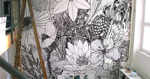 Black and white line mural-who wants to draw this in my studio?