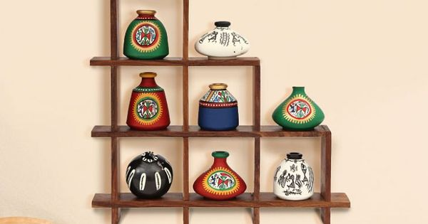 Maati Designs Rising Wooden Wall Shelf With 9 Assorted Pots ...