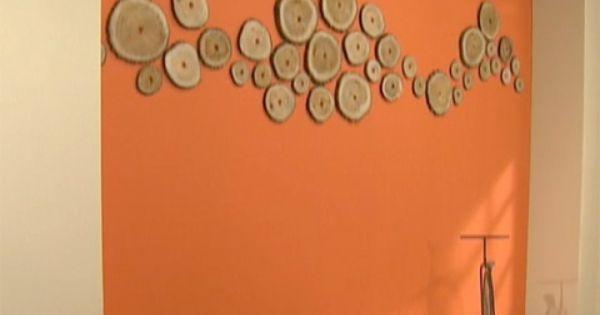 utilisima v deos pared naranja con troncos luz en
