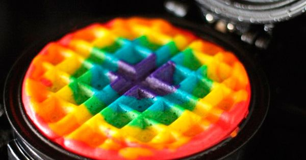 Tie dye waffles! What a fun breakfast idea to do with the