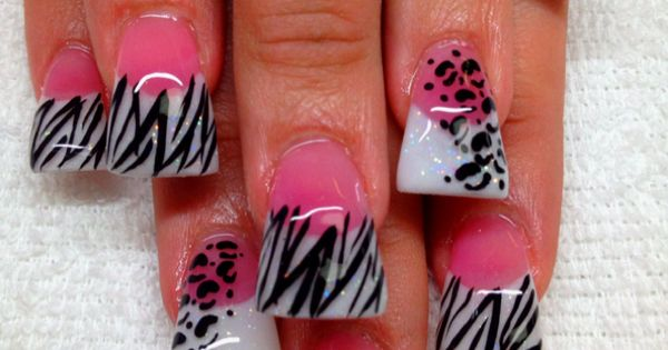 #cheetah zebra nails pink. These are GREAT ...