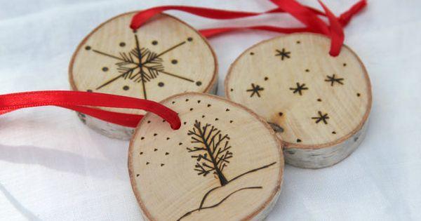 D coration de no l ornement arbre de no l rondelle bouleau d coration rustique en bois no l for Arbre de noel en bois truffaut