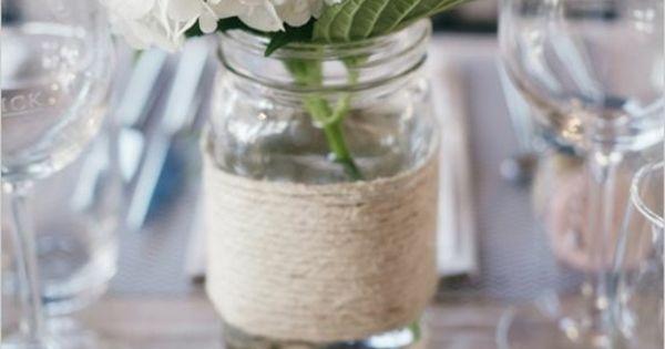 Fr hling deko ideen wei e hortensien tisch marmeladenglas - Marmeladenglas deko ...