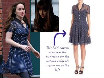 Fifty Shades Darker Ana S Navy Blue Polka Dot Dress Fsd Fiftyshadesdarker 50shades Ana Steele Outfit 50 Shades Fashion Dark Outfits