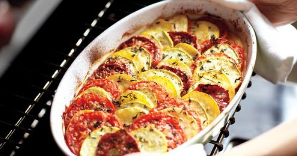 △ baked tomatoes, squash, and potatoes - 2 tablespoons extra-virgin olive oil,