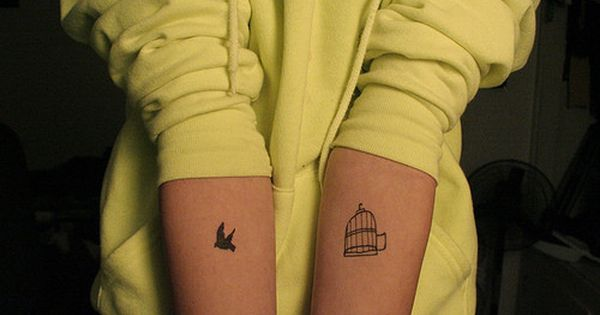 Mother daughter tattoo idea. Mom has the open bird cage. Daughter has