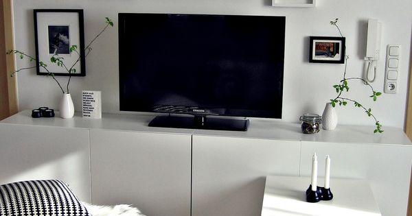 Wohnwand, Tv-wand Besta Ikea, Schwarz Weiß Bilderwand Wohnzimmer ... Ikea Wohnzimmer Wei