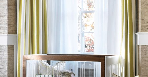 Horizontal Stripe Valance With Vertical Stripe Curtains In