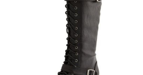 Wedge sandals - Lace-Up Knee-High Flat Boot: Charlotte Russe