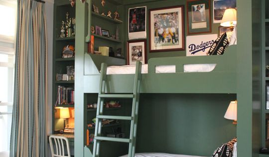 Green built in bunk beds - boys room