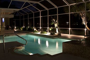Outdoor Landscape Lighting Inside Swimming Pool Cage Sarasota