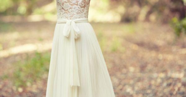 Robe de mariée en tulle en dentelle style bohème - Robe: George Wu ...