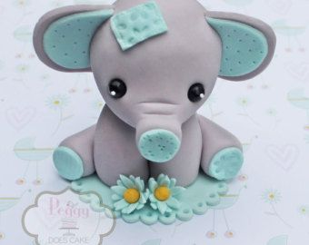 12 Elephant cupcake toppers made out of fondant