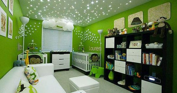This nursery features a starry ceiling, created by fiber-optic LED lights installed