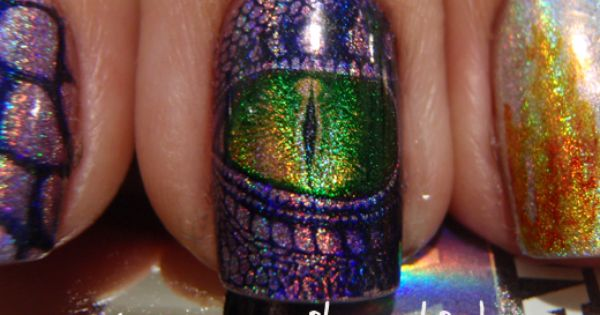 Dragon Eyes nail art