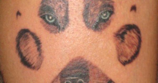 paw print face tattoo
