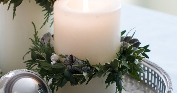 ❥ Holiday Candle Wreath~ Evergreen clippings and wire come together and form