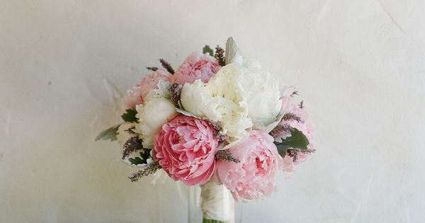 Rustic bouquet - beautiful white and pink peonies wedding bouquet