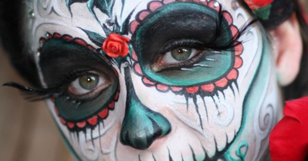 Pam's daughter Abby painted by Yolanda Bartrum - Sugar Skull Makeup (nice