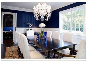 Painting Below The Chair Rail Dining Room Blue Dark Blue Dining