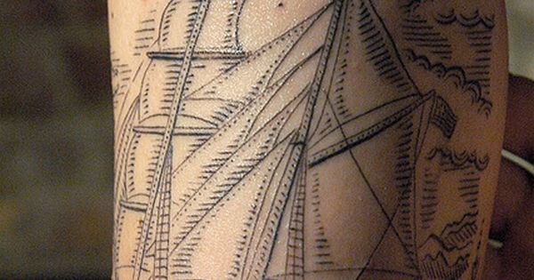 Crosshatched ship, tattoo idea for Cody.