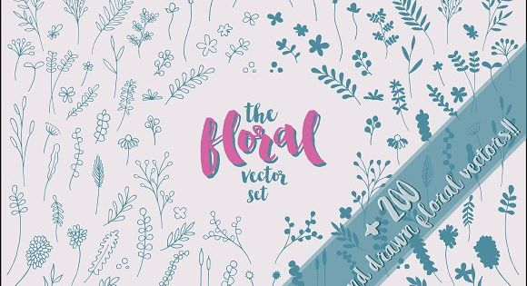 The Floral Vector Set by Paula Dolz on @creativemarket