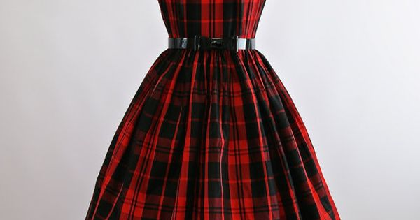 c81bd1d225232 Vintage 1950s Red Plaid Party Dress 50s Red Full by xtabayvintage
