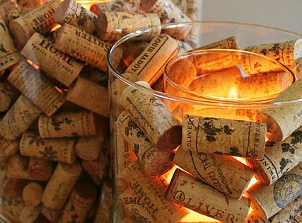 Wine Cork Candle Holder. Already did this at my house but love
