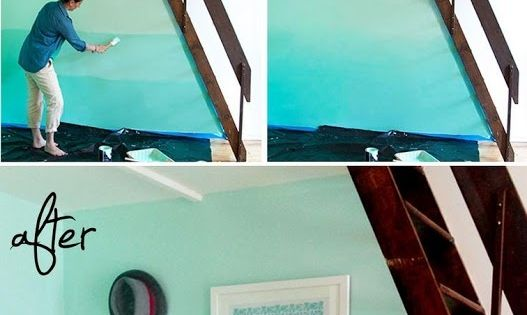 Ombre painted walls! Very cool idea-- maybe one accent wall of a room!