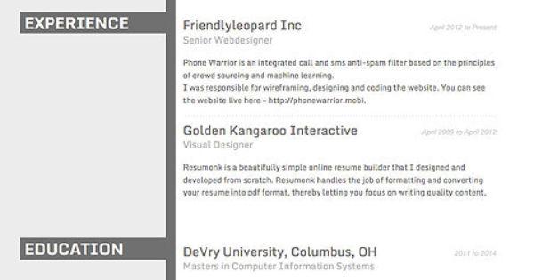 Resume Template - \u0027Concrete\u0027 Create your CV resumonk cv creator - e resume builder