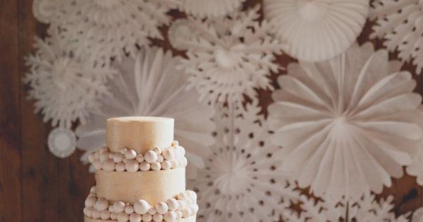 A romantic, champagne colored cake