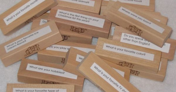 Questions attached to Jenga blocks - good pragmatics or language activity. I