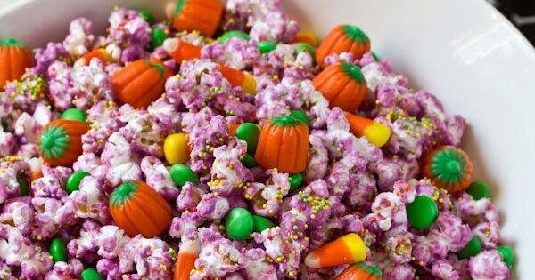 Halloween popcorn, Popcorn mix and Purple candy on Pinterest