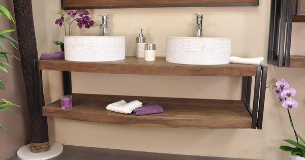 L 39 el gance est au rendez vous pour ce meuble de salle de bain en teck bross salle de bain for Poser joint salle de bain