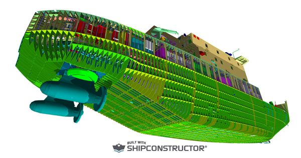 Autodesk Navisworks 3D engineering model rendering of the Great Lakes Icebreaker designed and ...