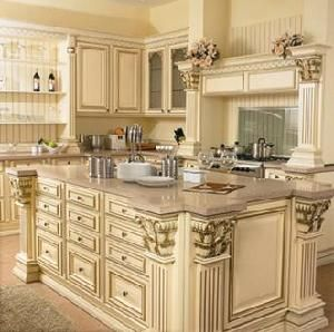 China Maple Luxurious Solid Wood Kitchen Cabinets Manufacturer