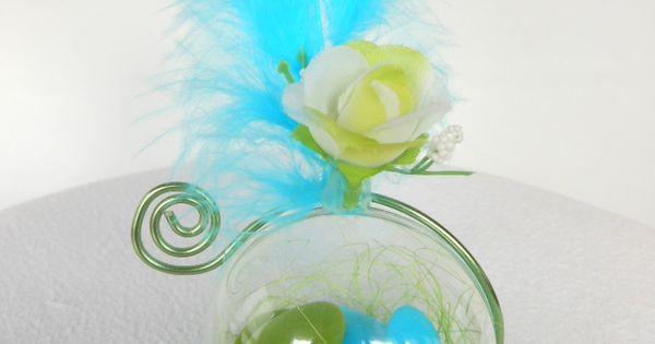 Fr centre de table bapteme garcon vert anis et bleu turquoise fabienne pinterest - Centre de table bleu turquoise ...