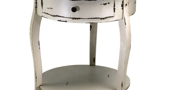 Abelard distressed white wood round accent side table for Abelard decoration