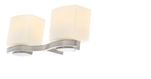Hampton Bay 2-Light Brushed Nickel Vanity Light with Etched White  Model # 25089