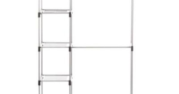 Whitmor Supreme Garment Closet Collection 19 5 In D X 45 38 In W X 68 In H Double Rod Metal Closet System Shelves 6779 3044 Wire Closet Systems Closet System Closet Organizing Systems