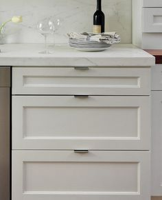 Tab Pull Hardware Example Shaker Kitchen Cabinets White Shaker