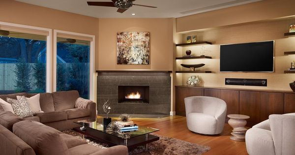 Floating Shelves Next To Fireplace Family Room