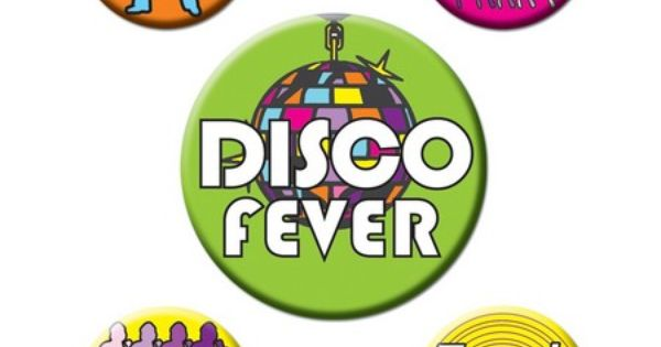 lot de 5 badges disco fever ann es 70 objets cultes. Black Bedroom Furniture Sets. Home Design Ideas