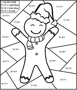 Add And Color By Number Based On Color Codes Single Digit Math Worksheet Sample 6 Christmas Math Worksheets Math Coloring Kids Math Worksheets