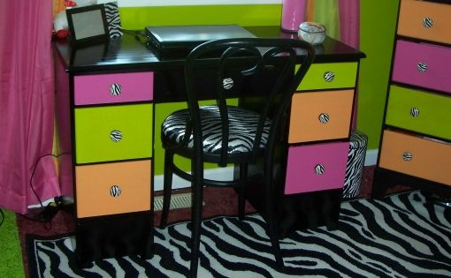 Zebra, Hot pink, Lime green, Orange, Bedroom, Teen girls zebra bedroom, bought