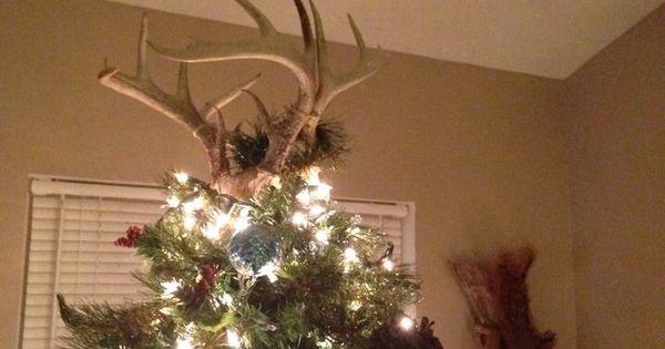 Deer Antlers As My Christmas Tree Topper.