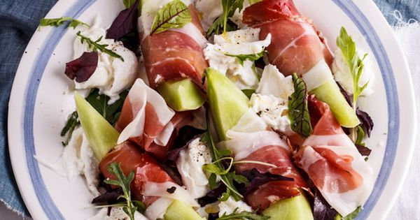 A delectable, refreshing sweet melon salad with salty prosciutto and milky fior di latte finished with a zesty, lemony dressing.