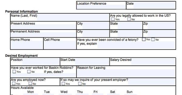 Download Baskin Robbins Job Application Form | Adobe PDF ...