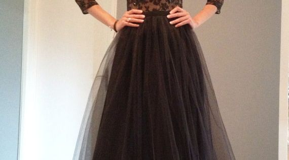 Maxi Black Open back Lace Evening Gown by NelliUzun on Etsy
