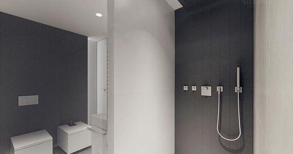 Zeer mooi vormgegeven badkamer grote witte tegels icm grijze metrotegeltjes design bathrooms - Deco witte tegel ...